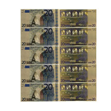 5pcs Colorful 24k Gold Banknote 20 Euro Gift Money Art Ornament Collection