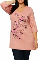 New Ladies Plus Size Tunic, Pink, Black, Silver, Floral Top , Size 16-28
