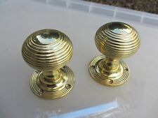Brass Beehive Door Knobs Handles Reeded     Antique Victorian STYLE