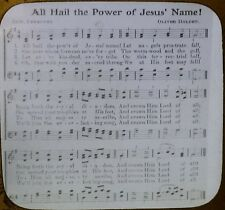 All Hail the Power of Jesus' Name, Hymn Lyrics/Tune, Magic Lantern Glass Slide