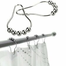 12 Pcs Set Bathroom Shower Curtain Rings Stainless Steel Hooks Ball With Roller