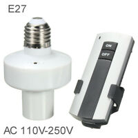 E27 110V Screw Wireless Remote Control Light Lamp Bulb Holder Cap Socket Switch