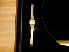 """VINTAGE LUCIEN PICCARD DIAMOND WATCH 14K SOLID GOLD 7"""" SELF WIND MESH BAND EUC"""