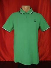 Fred Perry M1200 Mens M Medium Polo Shirt Green Twin Tipped 20""