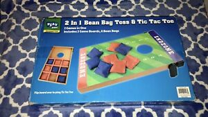 2 IN 1 Cornhole Bean Bag Toss Set Outdoor Party Game Wood Platform Tailgating