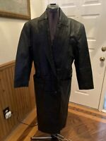VTG GIII G3 Women Sz S Double Breasted  Black Leather Trench Long Coat Button Up