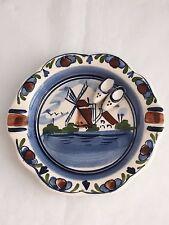 Dutch Themed Ceramic Ashtray Trinket Dish Windmill Shoes Delft Polt Blue White