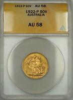 1922-P Australia Sovereign Gold Coin ANACS AU-58