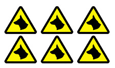 6 x CAUTION DOGS TRIANGLE STICKERS-DOG WARNING TRIANGLES              (z33)