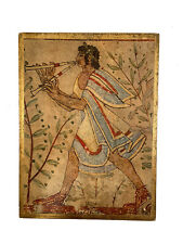 Vintage Print of Flute Player on Wooden Plaque from a Gallery Florence Italy