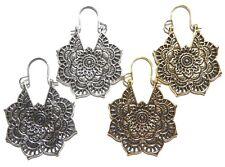 ORNATE MANDALA EARRINGS pierced ear or tunnel hanger bohemian boho yoga lotus 3B
