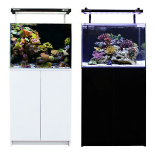 Aqua One MiniReef 120 Marine Reef Aquarium Fish Tank & Cabinet 120L Black & Whit