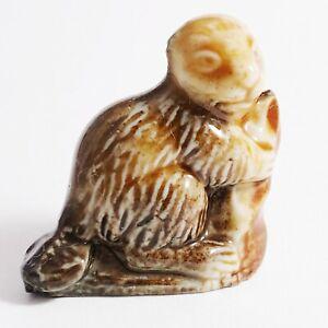 1979 Wade Whimsies Porcelain Beaver Honey & Dark Brown Glazed Set 5 156-8 Mini