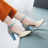 Women's Chic Cut Out Pointy Toe Pumps Ankle Strap Dress Shoes Block Heels Party
