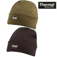 MENS STRETCHY THERMAL LINED BOB BEANIE HAT INSULATED GREEN BLACK ARMY HEADWEAR