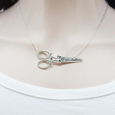 Scissors Charm Necklace Silver Metal Pendant Chain Stylist Hair Dresser Jewelry