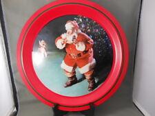 """Vintage Coca Cola Tray """"When Friends Drop In"""" 1988 Santa Chrsitmas Coke Tray"""