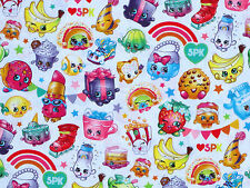FAT QUARTER  SHOPKINS RAINBOW CELEBRATION GROCERY COTTON FABRIC SPRINGS CREATIVE