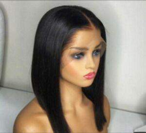 """10a 100% Brazilian Remy Human 13*4 Bob LACE Frontal Wig 16"""" 180% UK stock"""