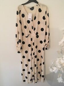 RRP £58 Bnwt Next Polka Dot Balloon Sleeve Midi Dress Size 14