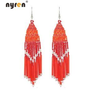 Multi Color Woven Beads Earrings Bohemian Beaded Drop Dangle Earrings 2498