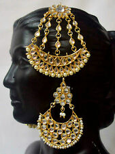 Gold Indian Bridal Kundan Jhoomer Jhoomar Passa Earrings Royal Jewelry Set f8m31
