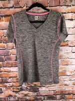 RBX Large Athleticwear Shirt Womens Size L Gray Pink Vneck Performance Tshirt