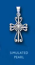 Echtschmuck-Anhänger mit Perlen-Kreuz-Motiv