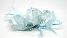 Pale ice blue fascinator on a clip comb or Alice band