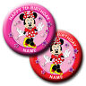 PERSONALISED MINNIE MOUSE STANDING BIRTHDAY BADGE, MAGNET, MIRROR 58MM or 77MM