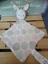 Doudou plat lapin tissu blanc ronds pois rose gris argentées Obaibi + cadeau