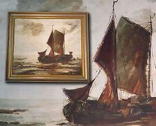 Holandés Escena de playa Barcos pesca, original antiguo Pintura al óleo,FIRMADO