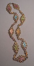 "1960s Swoboda Goldtone Filigree Chain Necklace w/ Pastel Gemstone Nuggets 24"" L"