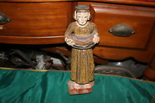Antique Polychrome Wood Carving Woman Carrying Basket-Long Dress-Religious
