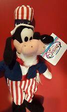 """Disney 8"""" Uncle Sam Goofy Mini Bean Bag Beanie NWT Stars & Stripes Americana"""