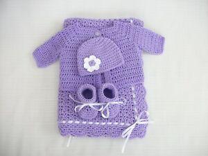 Crochet Baby Set- Blanket Sweater Hat Booties Infant 0-3m Handmade Shower Gift