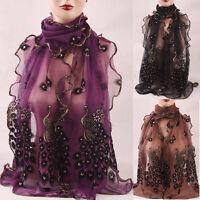 Fashion Women Peacock Scarf Long Soft Scarf Wrap Scarves Vintage Stylish Shawl #