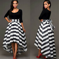 2-Piece Off Shoulder stripe Evening Formal Dresses High-Low Party Prom Gowns