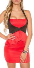 H57 Sexy KouCla Neckholder Minikleid mit Schösschen Abendkleid Cocktail S-L