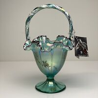 Fenton Glass Teal Violet Crest Iridescent Hand Hand Painted Grape Vines