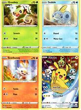 Pokemon Sword Shield Promo Card Set - Pikachu SWSH020 Grookey Scorbunny Sobble