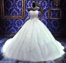 2017 Neu Weiß Brautkleid Hochzeitskleid Ballkleid Gr 32 34 36 38 40 42 44 46 48+