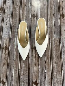 MICHAEL KORS CAMBRIA WHITE SILVER LEATHER MULES, HEELS, sz7M