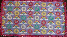"""Donut Doughnut Rainbow Fleece Tie Tied Blanket 54""""x30"""" Toddler Baby"""