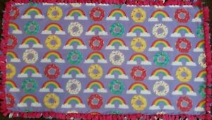 "Donut Doughnut Rainbow Fleece Tie Tied Blanket 54""x30"" Toddler Baby"