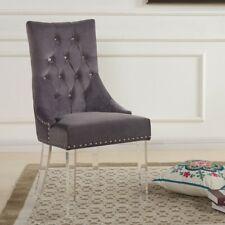 Armen Living Gobi Modern Tufted Dining Chair, Gray Velvet/Acrylic - LCGOCHGRAY