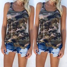 Women's Summer Sports Vest Top Sleeveless Camo Blouse Casual Tank Tops T-Shirt