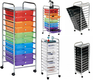 10 DRAWER MAKE UP MOBILE HOME OFFICE BEAUTY SALON PORTABLE STORAGE TROLLEY