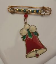 Vintage Safety Pin w/ beaded wire & Metal Enameled Bell Gold Tone Metal Pin Broo