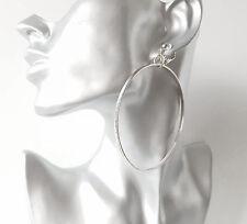 1 pair of gorgeous silver tone fine line pattern  hoop drop CLIP ON earrings